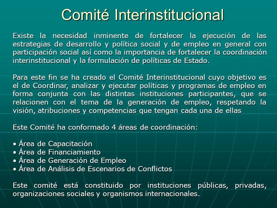 Comité Interinstitucional Existe la necesidad inminente de fortalecer la ejecución de las estrategias de desarrollo y política social y de empleo en g