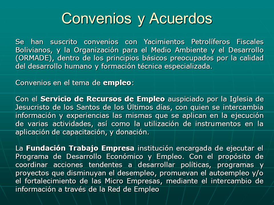 Convenios y Acuerdos Se han suscrito convenios con Yacimientos Petrolíferos Fiscales Bolivianos, y la Organización para el Medio Ambiente y el Desarro
