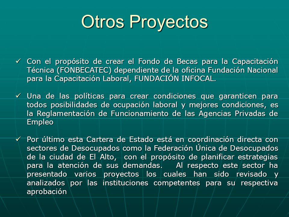 Otros Proyectos Con el propósito de crear el Fondo de Becas para la Capacitación Técnica (FONBECATEC) dependiente de la oficina Fundación Nacional par