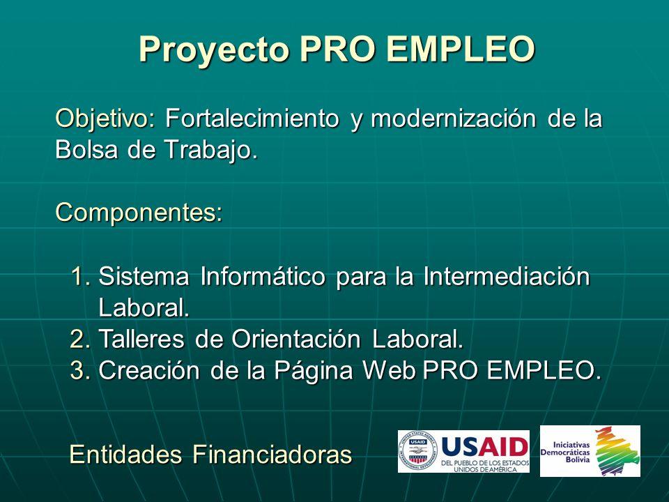 Proyecto PRO EMPLEO Objetivo: Fortalecimiento y modernización de la Bolsa de Trabajo. Componentes: Entidades Financiadoras 1. Sistema Informático para