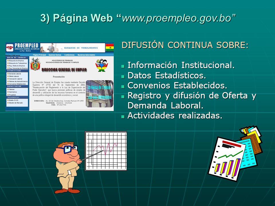 3) Página Web www.proempleo.gov.bo DIFUSIÓN CONTINUA SOBRE: Información Institucional. Información Institucional. Datos Estadísticos. Datos Estadístic