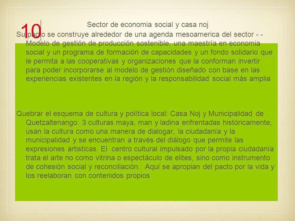 Sector de economia social y casa noj Su pacto se construye alrededor de una agenda mesoamerica del sector - - Modelo de gestión de producción sostenible, una maestría en economia social y un programa de formación de capacidades y un fondo solidario que le permita a las cooperativas y organizaciones que la conforman invertir para poder incorporarse al modelo de gestión diseñado con base en las experiencias existentes en la región y la responsabilidad social más amplia Quebrar el esquema de cultura y política local: Casa Noj y Municipalidad de Quetzaltenango: 3 culturas maya, man y ladina enfrentadas históricamente, usan la cultura como una manera de dialogar, la ciudadanía y la municipalidad y se encuentran a través del diálogo que permite las expresiones artisticas.