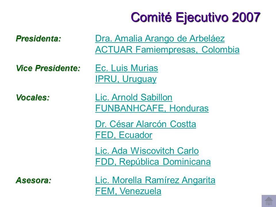 Comité Ejecutivo 2007 Comité Ejecutivo 2007 Presidenta: Presidenta: Dra. Amalia Arango de Arbeláez Dra. Amalia Arango de Arbeláez ACTUAR Famiempresas,
