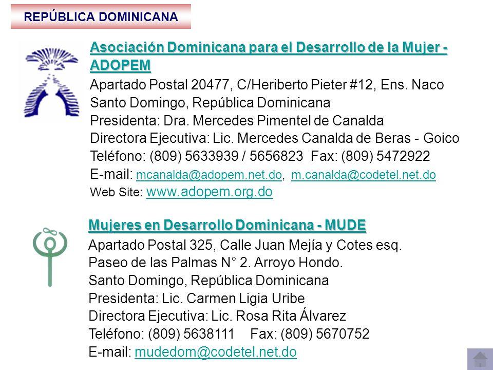 REPÚBLICA DOMINICANA Fundación Dominicana de Desarrollo - FDD Fundación Dominicana de Desarrollo - FDD Apartado Postal 857, Calle Las Mercedes # 4, Zona Colonial Santo Domingo, República Dominicana Presidente: Lic.