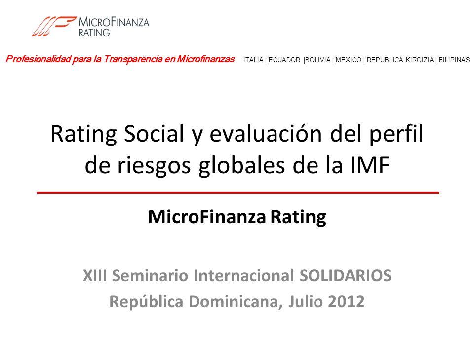 Quiénes somos MicroFinanza Rating (MFR) es una agencia de rating privada e independiente especializada en microfinanzas y finanza rural MFR ha realizado más de 700 evaluaciones en 80 países hasta la fecha MFR cuenta con el reconocimiento del Rating Fund de BID/CAF y de la Rating Initiative de ADA, es reconocida por una autoridad regulatoria nacional (SBS de Ecuador) y participa activamente en el Grupo de trabajo sobre desempeño social (SPTF) Oficina principal en Milán (Italia) con 7 oficinas en 4 continentes Ecuador: atiende Suramérica y Centroamérica Bolivia México Kenia: atiende África Kirguístan: atiende Asia Central Filipinas: atiende Sureste de Asia 2