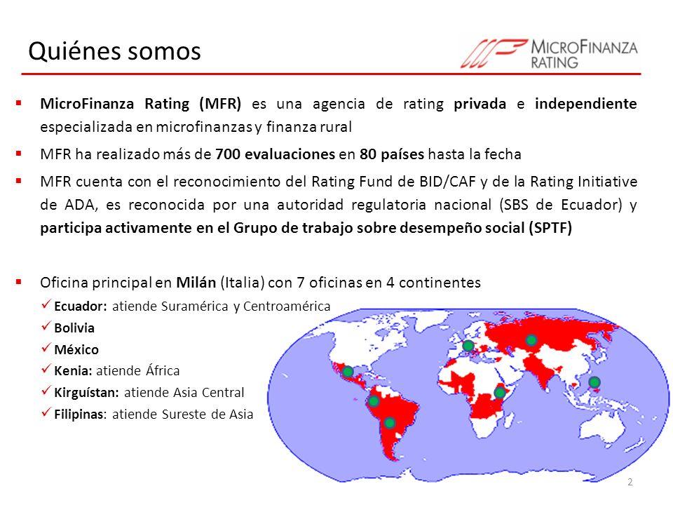 Quiénes somos MicroFinanza Rating (MFR) es una agencia de rating privada e independiente especializada en microfinanzas y finanza rural MFR ha realiza