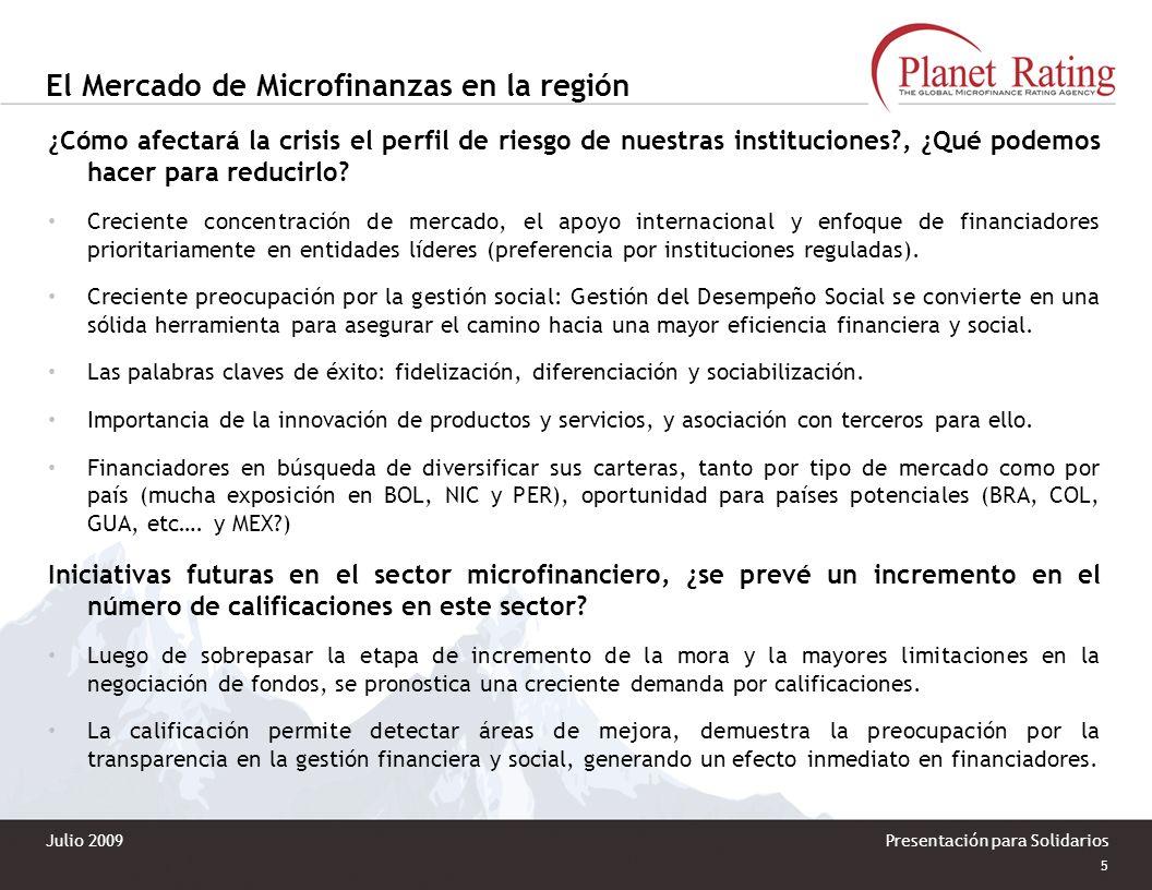 4 Presentación para Solidarios El Mercado de Microfinanzas en la región No han aparecido nuevos riesgos, sólo que ante la coyuntura actual se observa: