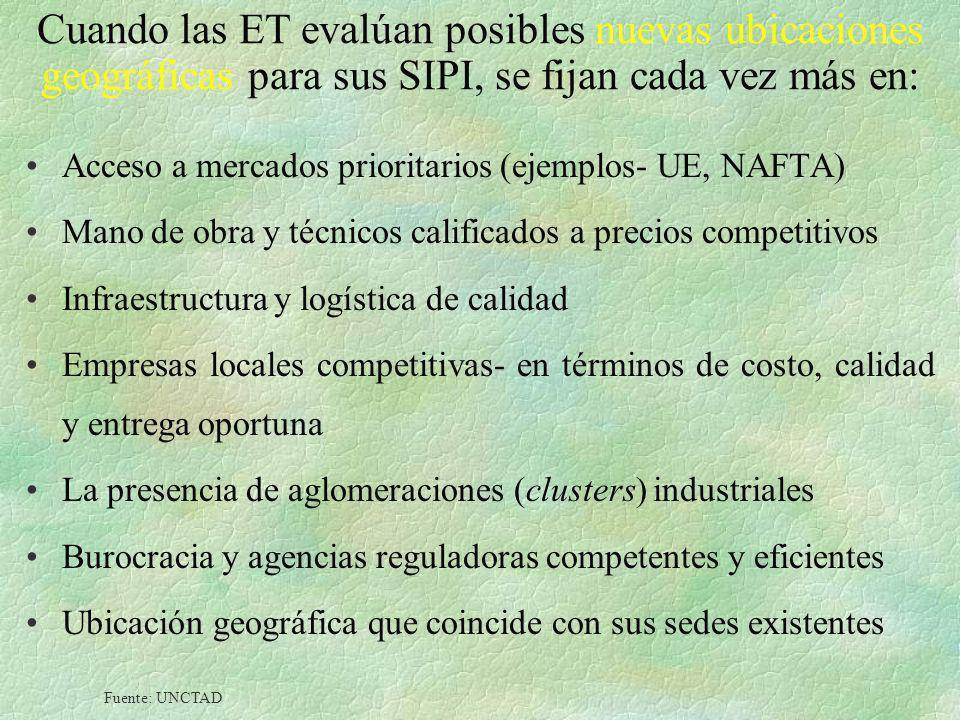 Cuando las ET evalúan posibles nuevas ubicaciones geográficas para sus SIPI, se fijan cada vez más en: Acceso a mercados prioritarios (ejemplos- UE, N