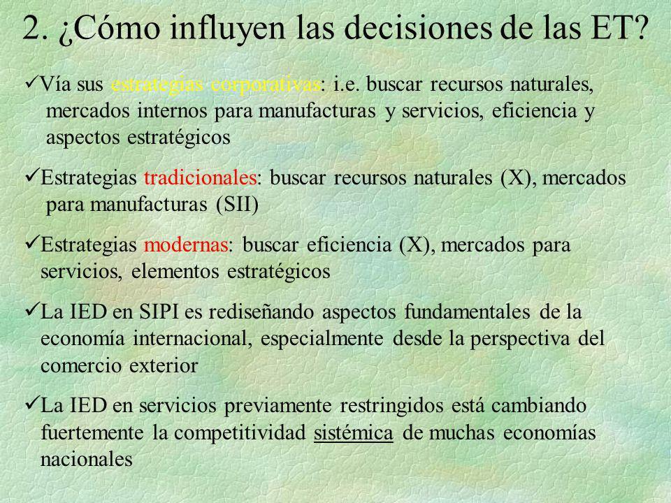 2. ¿Cómo influyen las decisiones de las ET? Vía sus estrategias corporativas: i.e. buscar recursos naturales, mercados internos para manufacturas y se