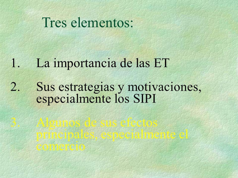 1. La importancia de las ET 2. Sus estrategias y motivaciones, especialmente los SIPI 3. Algunos de sus efectos principales, especialmente el comercio