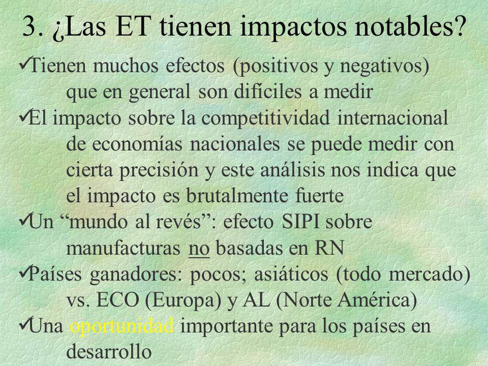 3. ¿Las ET tienen impactos notables? Tienen muchos efectos (positivos y negativos) que en general son difíciles a medir El impacto sobre la competitiv