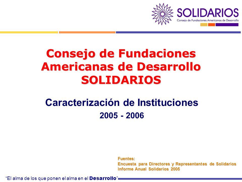 El alma de los que ponen el alma en el Desarrollo Consejo de Fundaciones Americanas de Desarrollo SOLIDARIOS Caracterización de Instituciones 2005 - 2006 Fuentes: Encuesta para Directores y Representantes de Solidarios Informe Anual Solidarios 2005