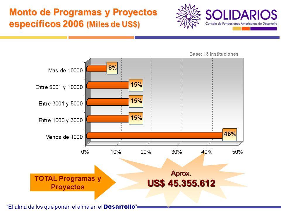 El alma de los que ponen el alma en el Desarrollo Monto de Programas y Proyectos específicos 2006 (Miles de US$) Base: 13 Instituciones TOTAL Programas y Proyectos Aprox.