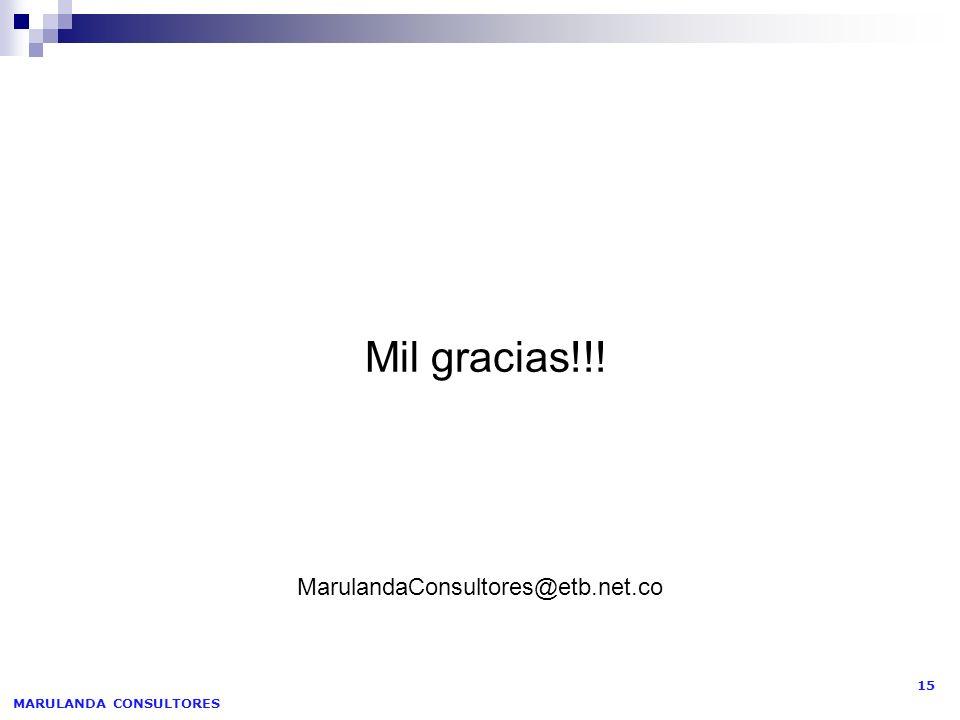MARULANDA CONSULTORES 15 Mil gracias!!! MarulandaConsultores@etb.net.co