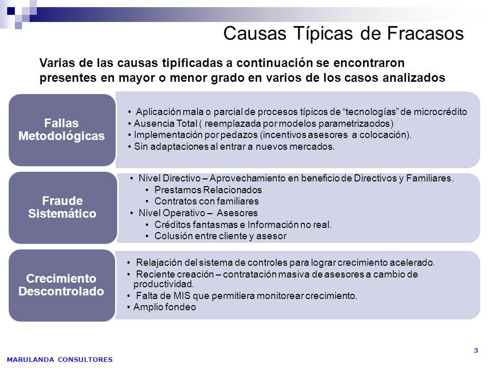MARULANDA CONSULTORES 4 Causas Típicas de Fracasos Atender las necesidades integrales de los microempresarios sin haber consolidado el producto básico de microcrédito.