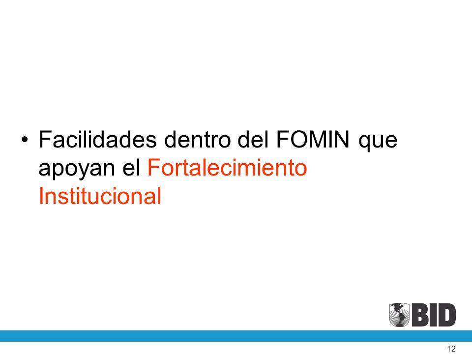12 Facilidades dentro del FOMIN que apoyan el Fortalecimiento Institucional