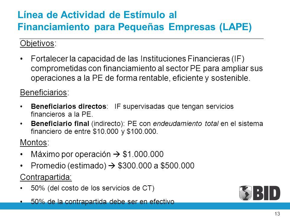 13 Línea de Actividad de Estímulo al Financiamiento para Pequeñas Empresas (LAPE) Objetivos: Fortalecer la capacidad de las Instituciones Financieras (IF) comprometidas con financiamiento al sector PE para ampliar sus operaciones a la PE de forma rentable, eficiente y sostenible.