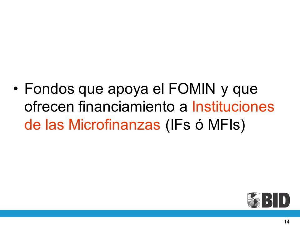 14 Fondos que apoya el FOMIN y que ofrecen financiamiento a Instituciones de las Microfinanzas (IFs ó MFIs)