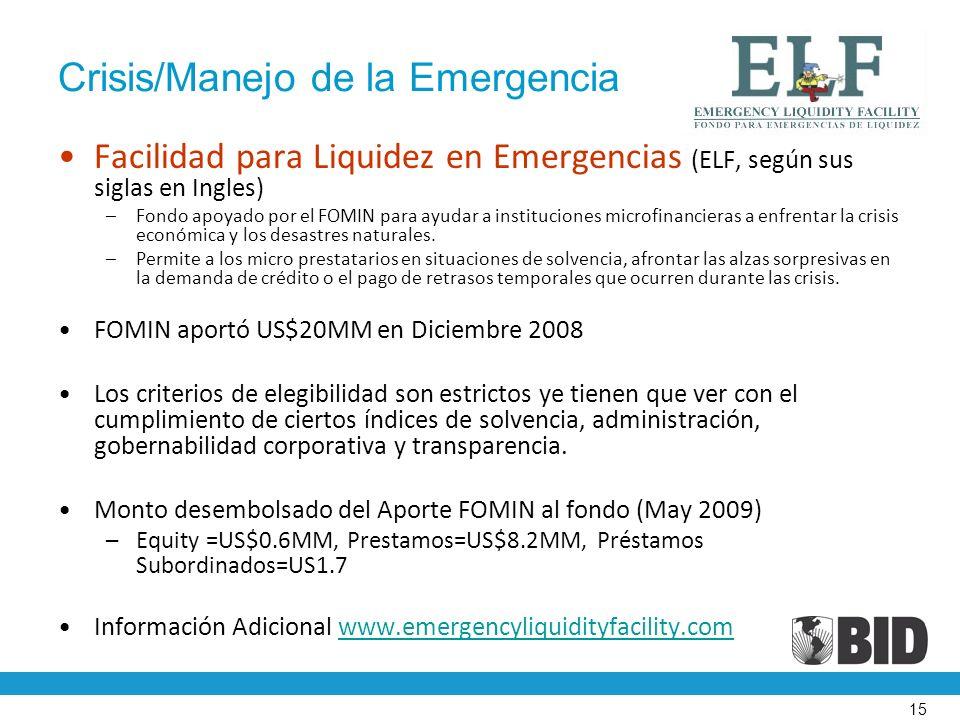 15 Crisis/Manejo de la Emergencia Facilidad para Liquidez en Emergencias (ELF, según sus siglas en Ingles) –Fondo apoyado por el FOMIN para ayudar a instituciones microfinancieras a enfrentar la crisis económica y los desastres naturales.