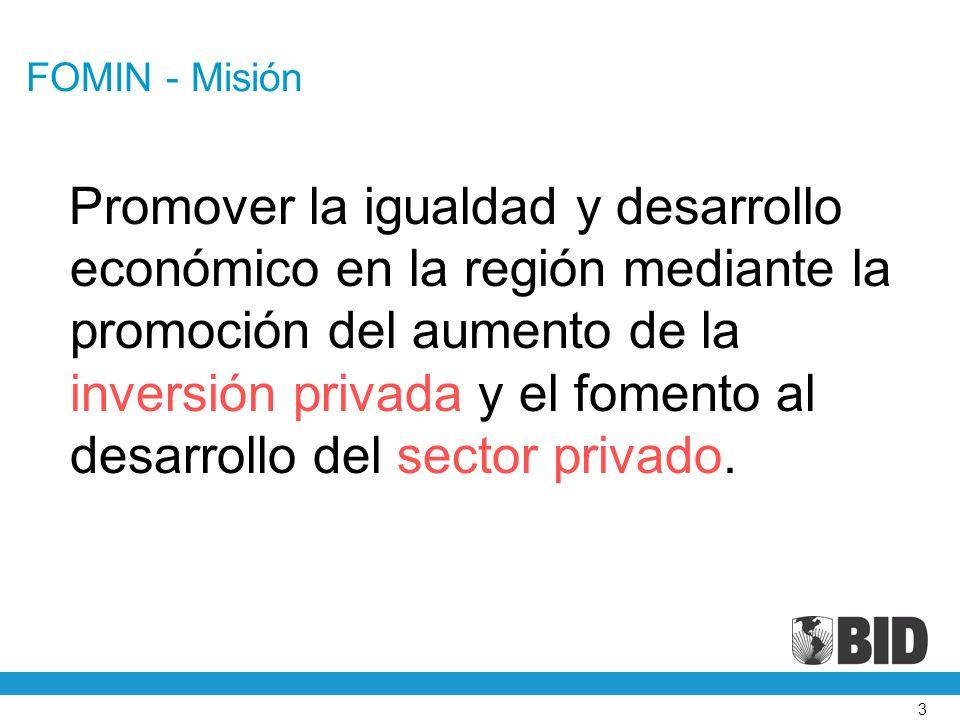 3 FOMIN - Misión Promover la igualdad y desarrollo económico en la región mediante la promoción del aumento de la inversión privada y el fomento al desarrollo del sector privado.