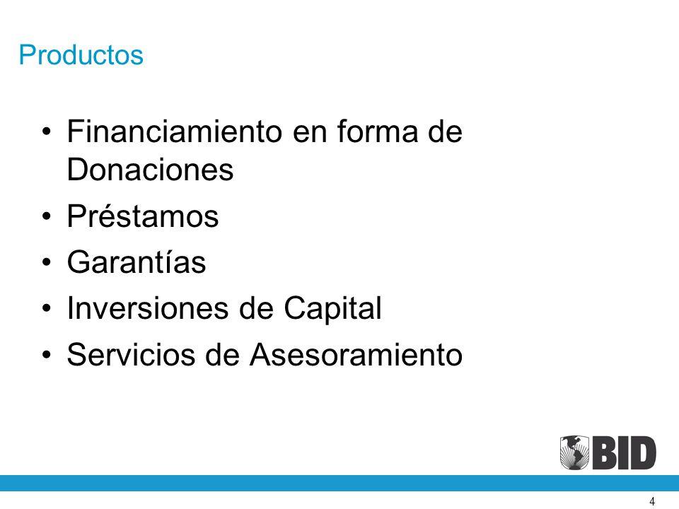 4 Productos Financiamiento en forma de Donaciones Préstamos Garantías Inversiones de Capital Servicios de Asesoramiento