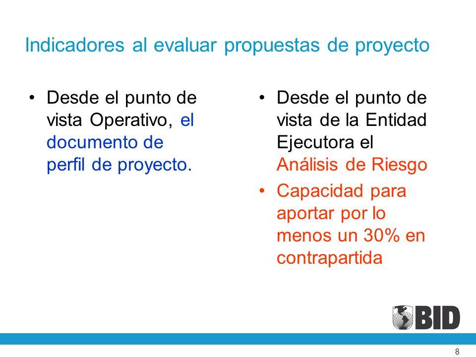 8 Indicadores al evaluar propuestas de proyecto Desde el punto de vista Operativo, el documento de perfil de proyecto.