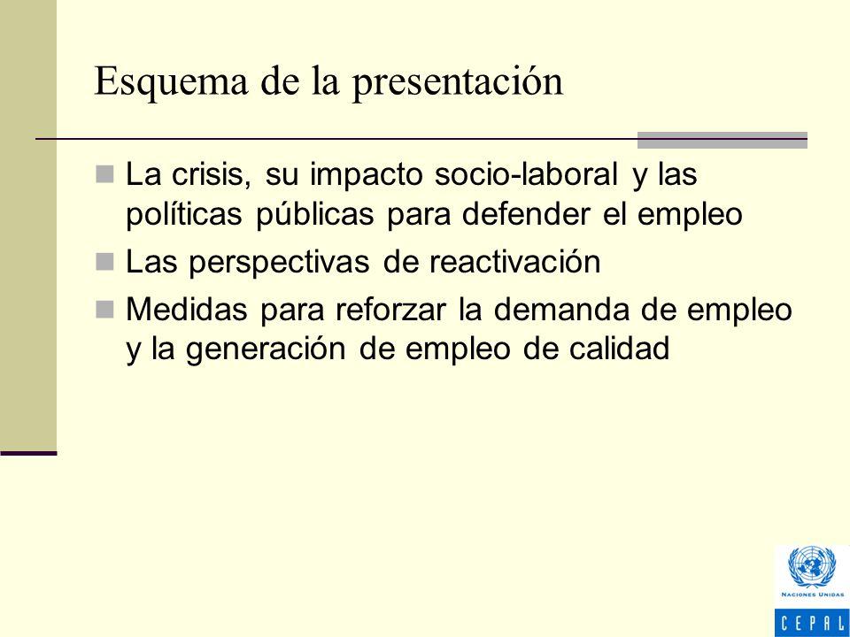 Esquema de la presentación La crisis, su impacto socio-laboral y las políticas públicas para defender el empleo Las perspectivas de reactivación Medidas para reforzar la demanda de empleo y la generación de empleo de calidad