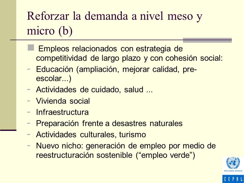 Reforzar la demanda a nivel meso y micro (b) Empleos relacionados con estrategia de competitividad de largo plazo y con cohesión social: - Educación (ampliación, mejorar calidad, pre- escolar...) - Actividades de cuidado, salud...