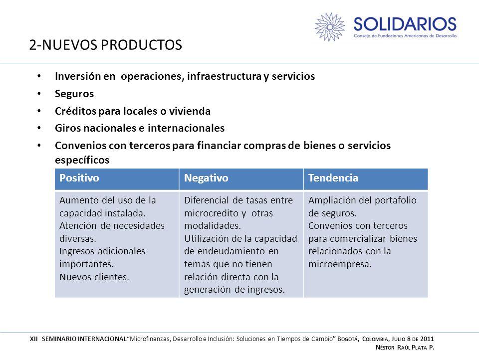 2-NUEVOS PRODUCTOS Inversión en operaciones, infraestructura y servicios Seguros Créditos para locales o vivienda Giros nacionales e internacionales C