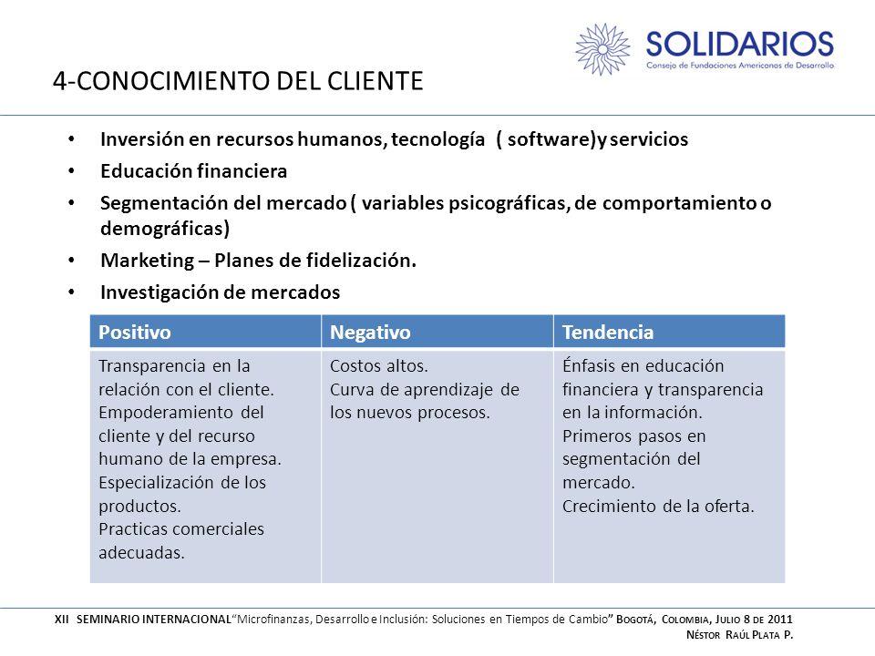 4-CONOCIMIENTO DEL CLIENTE Inversión en recursos humanos, tecnología ( software)y servicios Educación financiera Segmentación del mercado ( variables