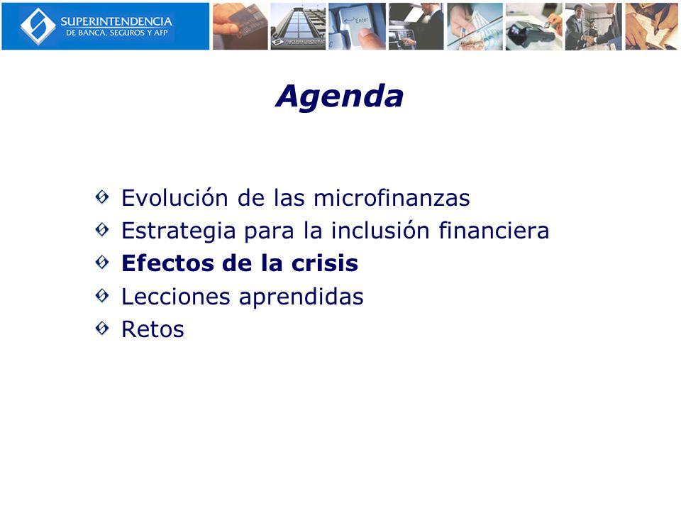 Agenda Evolución de las microfinanzas Estrategia para la inclusión financiera Efectos de la crisis Lecciones aprendidas Retos