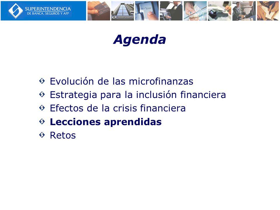 Agenda Evolución de las microfinanzas Estrategia para la inclusión financiera Efectos de la crisis financiera Lecciones aprendidas Retos