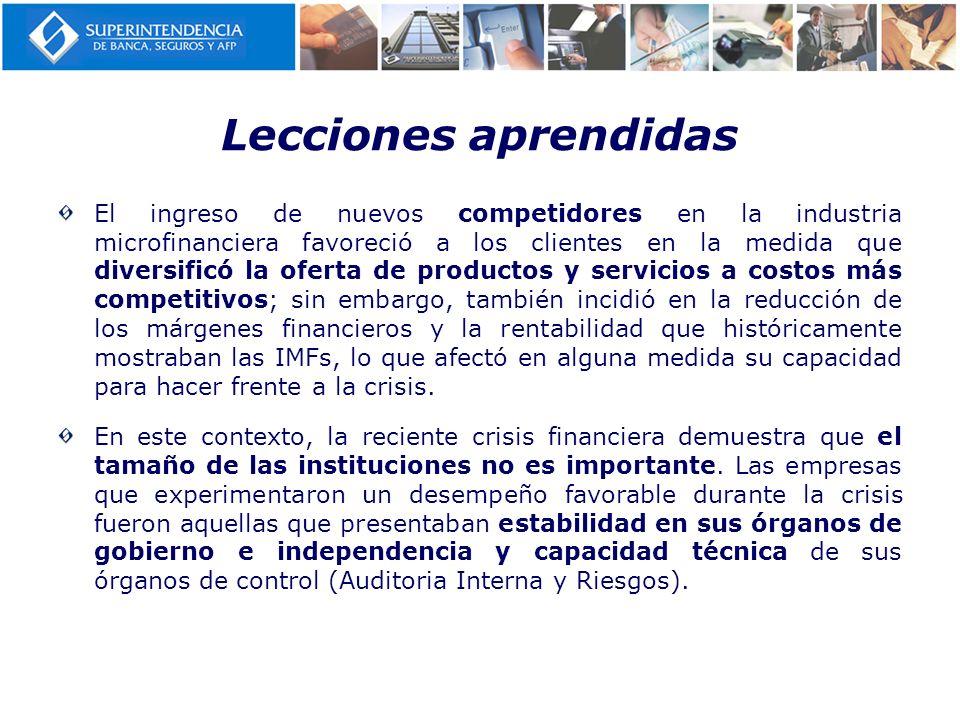 Lecciones aprendidas El ingreso de nuevos competidores en la industria microfinanciera favoreció a los clientes en la medida que diversificó la oferta