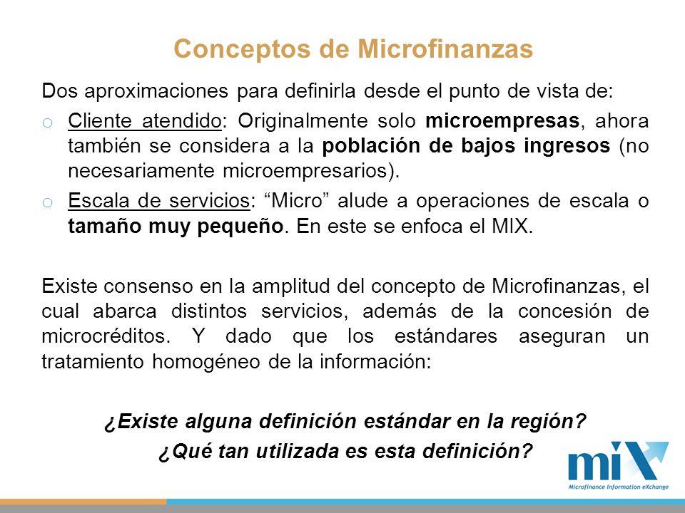 Conceptos de Microfinanzas Dos aproximaciones para definirla desde el punto de vista de: o Cliente atendido: Originalmente solo microempresas, ahora t