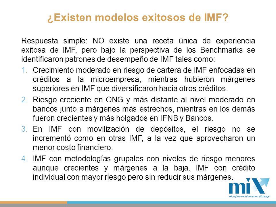 ¿Existen modelos exitosos de IMF? Respuesta simple: NO existe una receta única de experiencia exitosa de IMF, pero bajo la perspectiva de los Benchmar