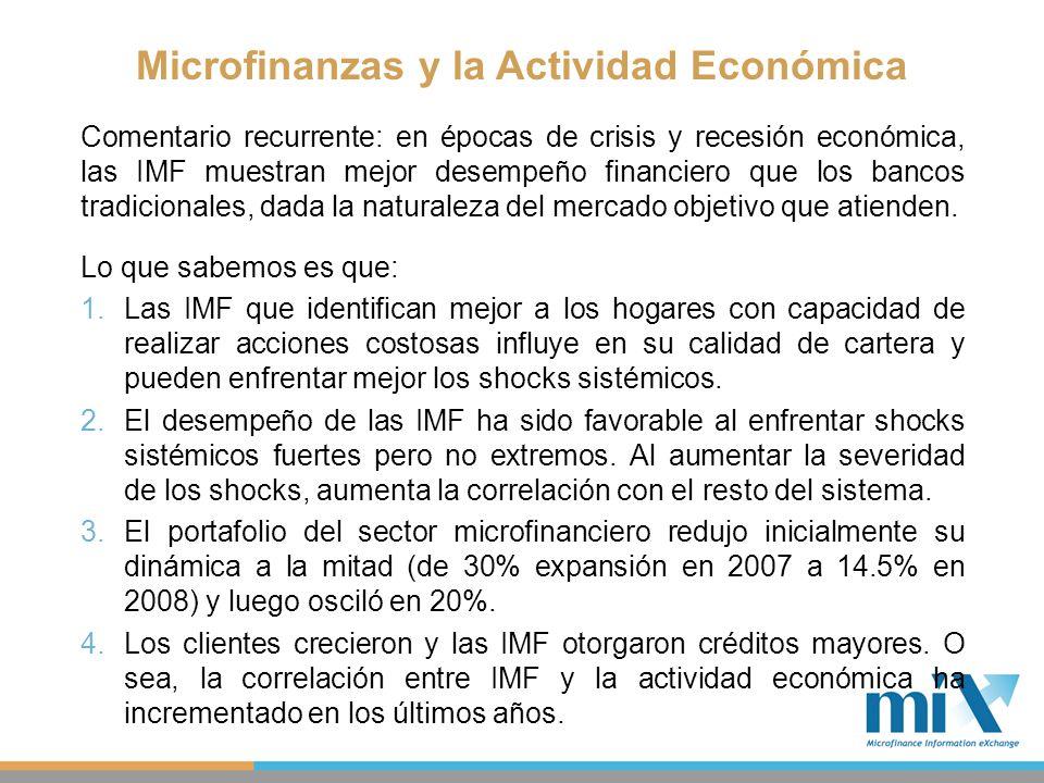 Comentario recurrente: en épocas de crisis y recesión económica, las IMF muestran mejor desempeño financiero que los bancos tradicionales, dada la nat