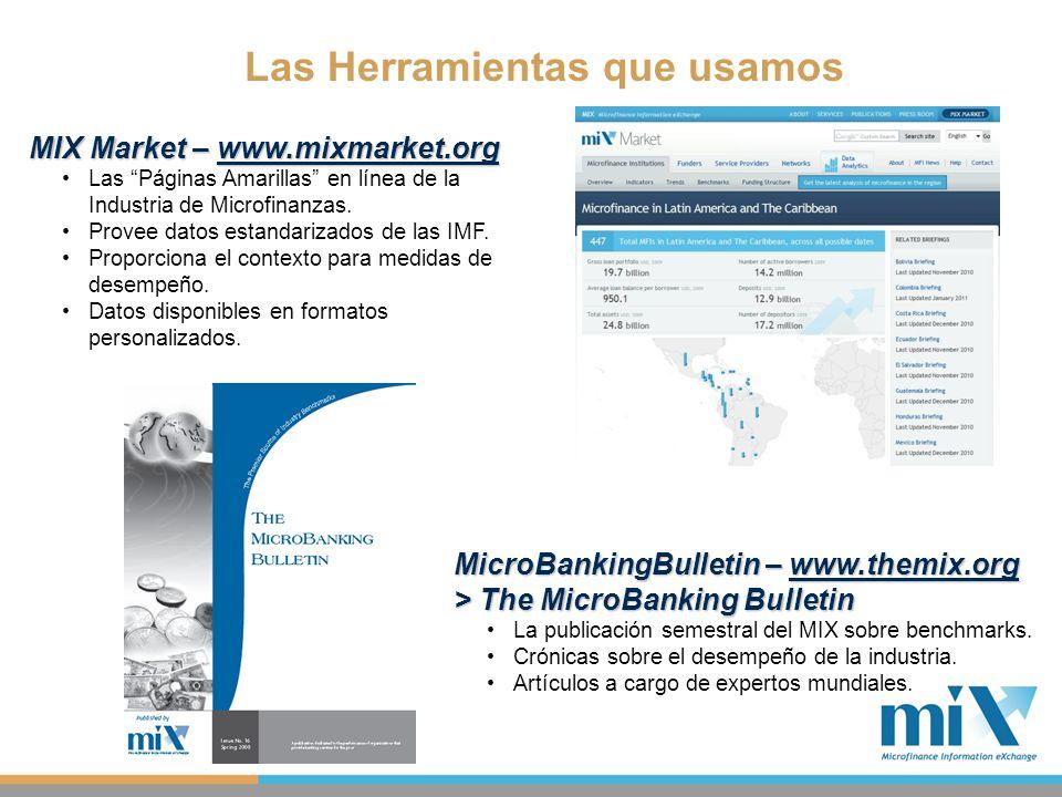 Las Herramientas que usamos MIX Market – www.mixmarket.org Las Páginas Amarillas en línea de la Industria de Microfinanzas. Provee datos estandarizado