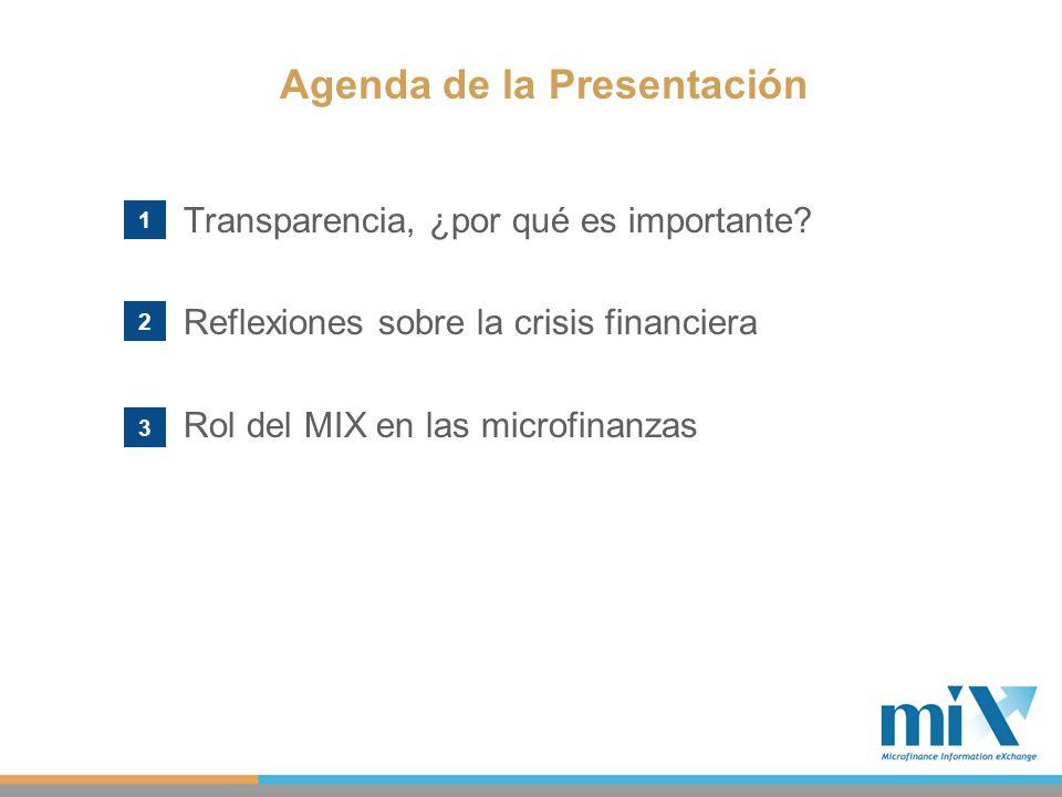 Transparencia, ¿por qué es importante? Reflexiones sobre la crisis financiera Rol del MIX en las microfinanzas Agenda de la Presentación 1 2 3
