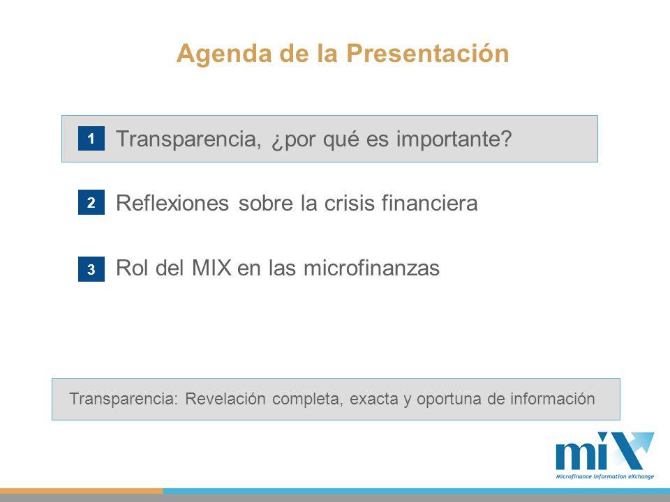 Transparencia, ¿por qué es importante? Reflexiones sobre la crisis financiera Rol del MIX en las microfinanzas Agenda de la Presentación 1 2 3 Transpa