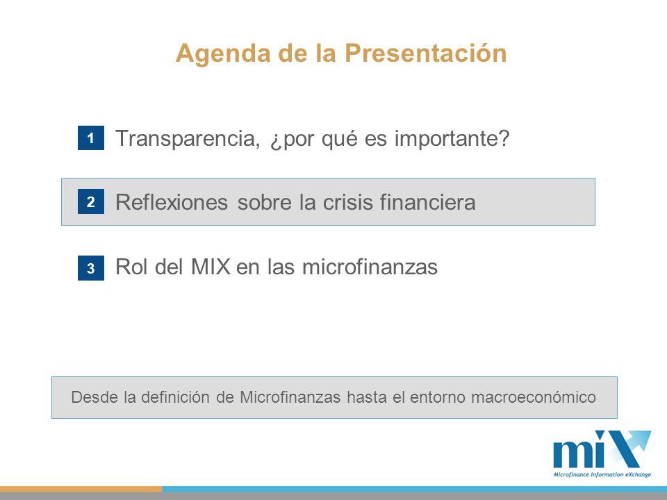 Transparencia, ¿por qué es importante? Reflexiones sobre la crisis financiera Rol del MIX en las microfinanzas Agenda de la Presentación 1 2 3 Desde l