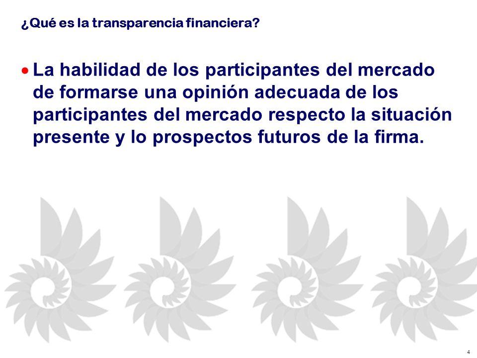 15 La Transparencia Financiera depende de…..