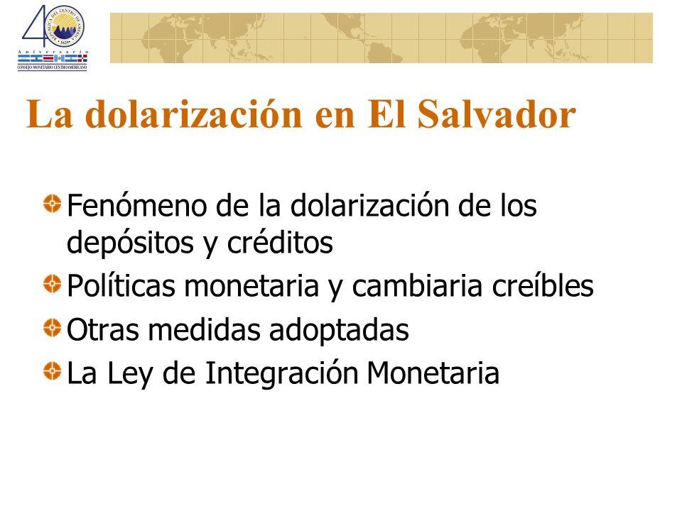 La dolarización en El Salvador Fenómeno de la dolarización de los depósitos y créditos Políticas monetaria y cambiaria creíbles Otras medidas adoptada