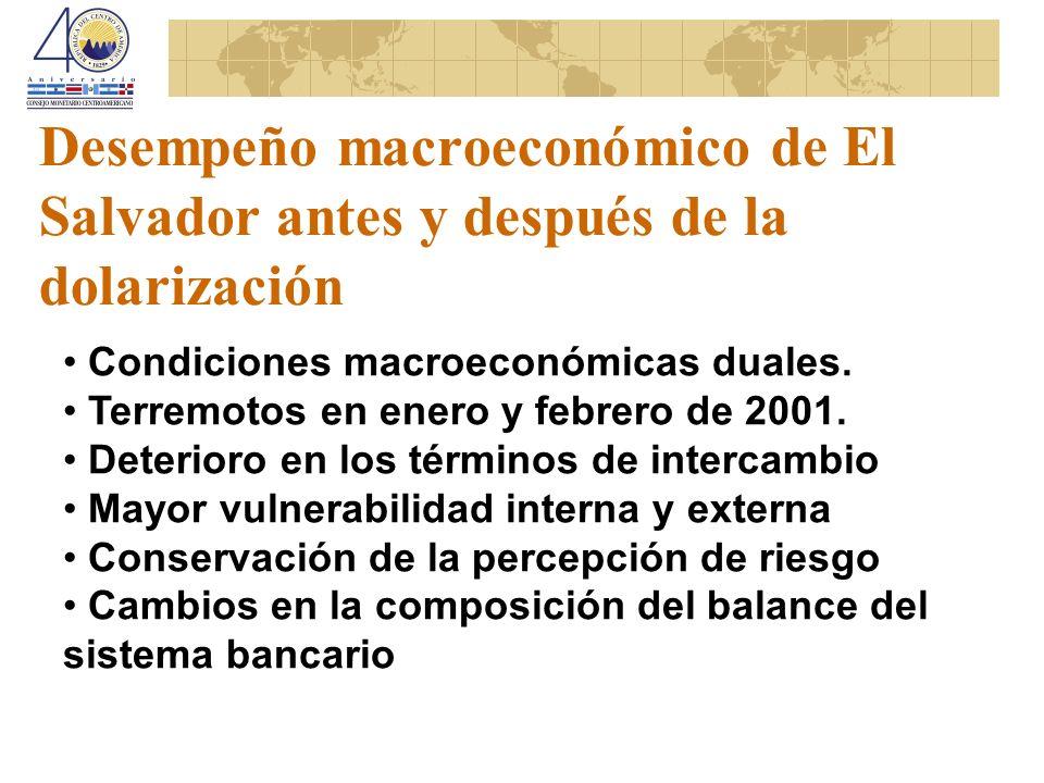 Desempeño macroeconómico de El Salvador antes y después de la dolarización Condiciones macroeconómicas duales. Terremotos en enero y febrero de 2001.