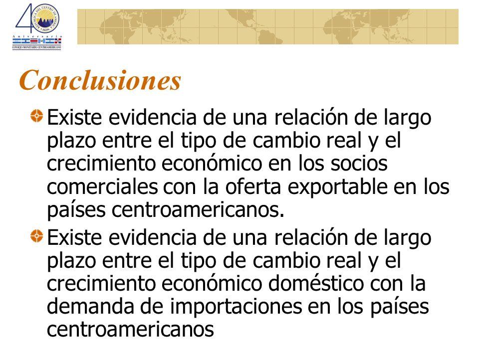 Conclusiones Existe evidencia de una relación de largo plazo entre el tipo de cambio real y el crecimiento económico en los socios comerciales con la