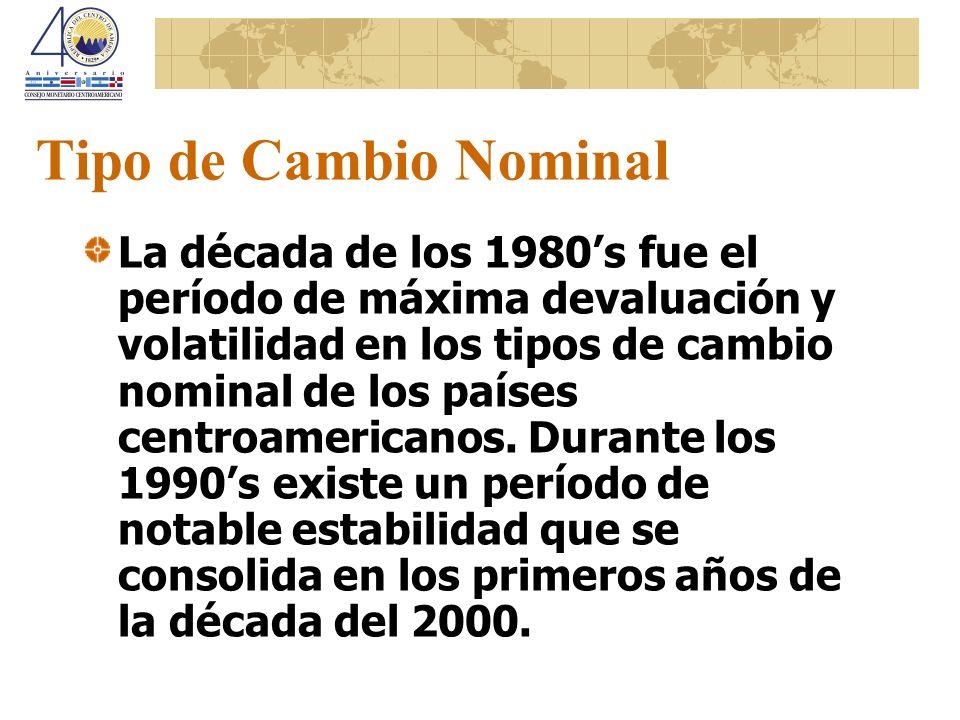 Tipo de Cambio Nominal La década de los 1980s fue el período de máxima devaluación y volatilidad en los tipos de cambio nominal de los países centroam