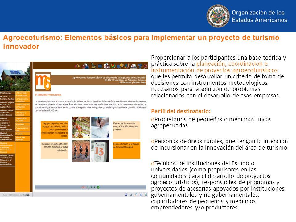 Proporcionar a los participantes una base teórica y práctica sobre la planeación, coordinación e instrumentación de proyectos agroecoturísticos, que l