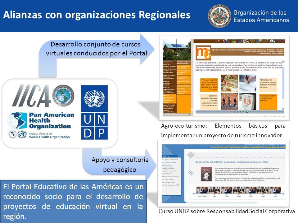 Alianzas con organizaciones Regionales El Portal Educativo de las Américas es un reconocido socio para el desarrollo de proyectos de educación virtual