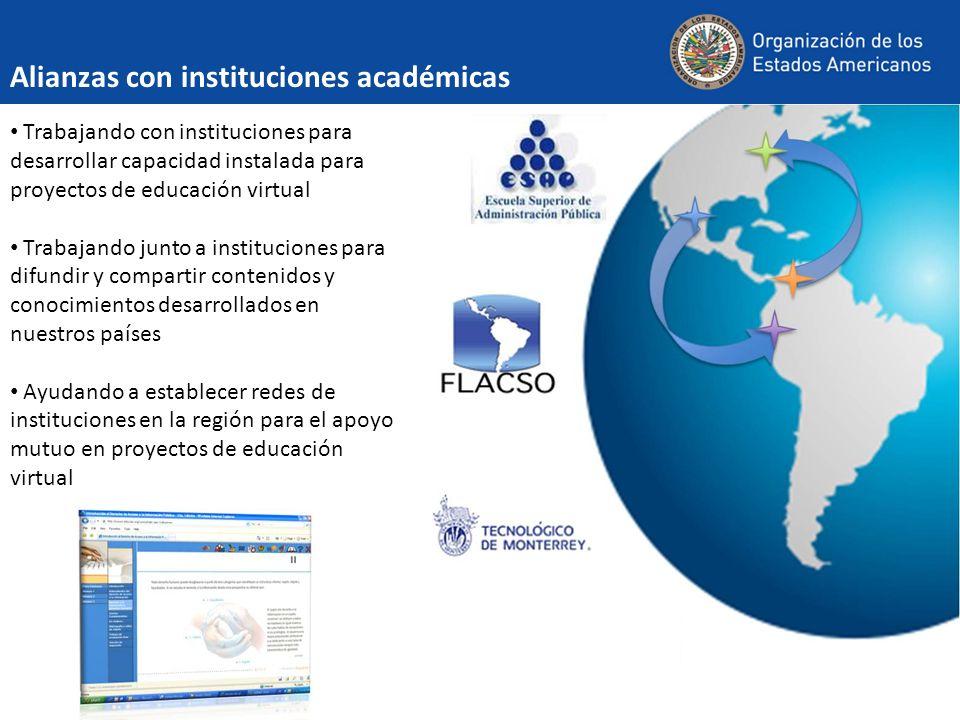 Alianzas con instituciones académicas Trabajando con instituciones para desarrollar capacidad instalada para proyectos de educación virtual Trabajando