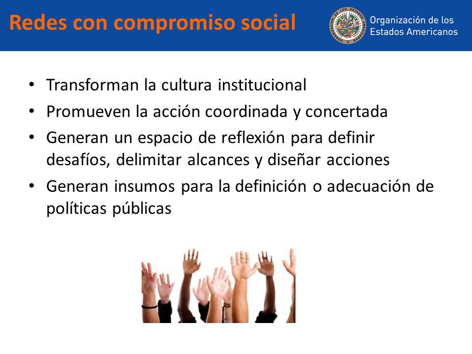 Redes con compromiso social Transforman la cultura institucional Promueven la acción coordinada y concertada Generan un espacio de reflexión para defi