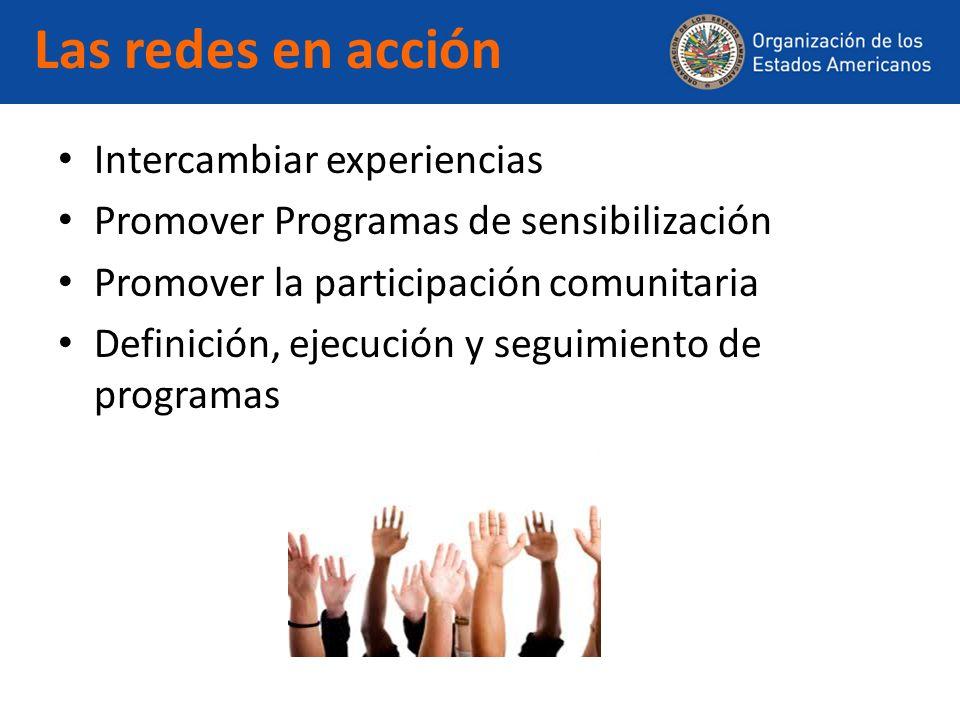 Las redes en acción Intercambiar experiencias Promover Programas de sensibilización Promover la participación comunitaria Definición, ejecución y segu